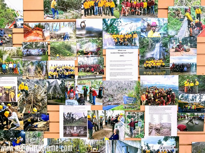 A wall covered with photos in the El Yunque National Forest Visitor Center, located in Palmer, Puerto Rico.