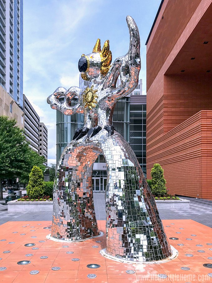 The Firebird Statue in front of the Museum of Modern Art in Uptown Charlotte.