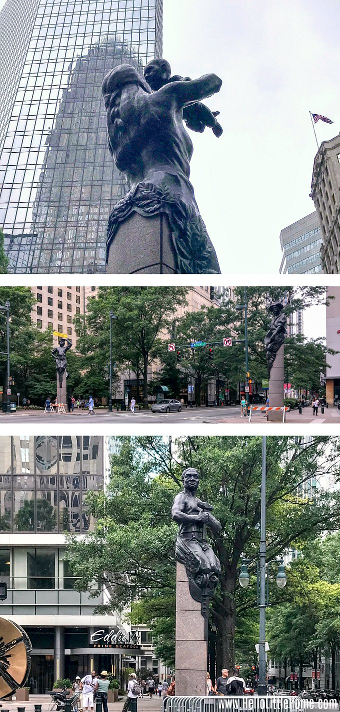 The Four Corners statues in Uptown Charlotte, NC.