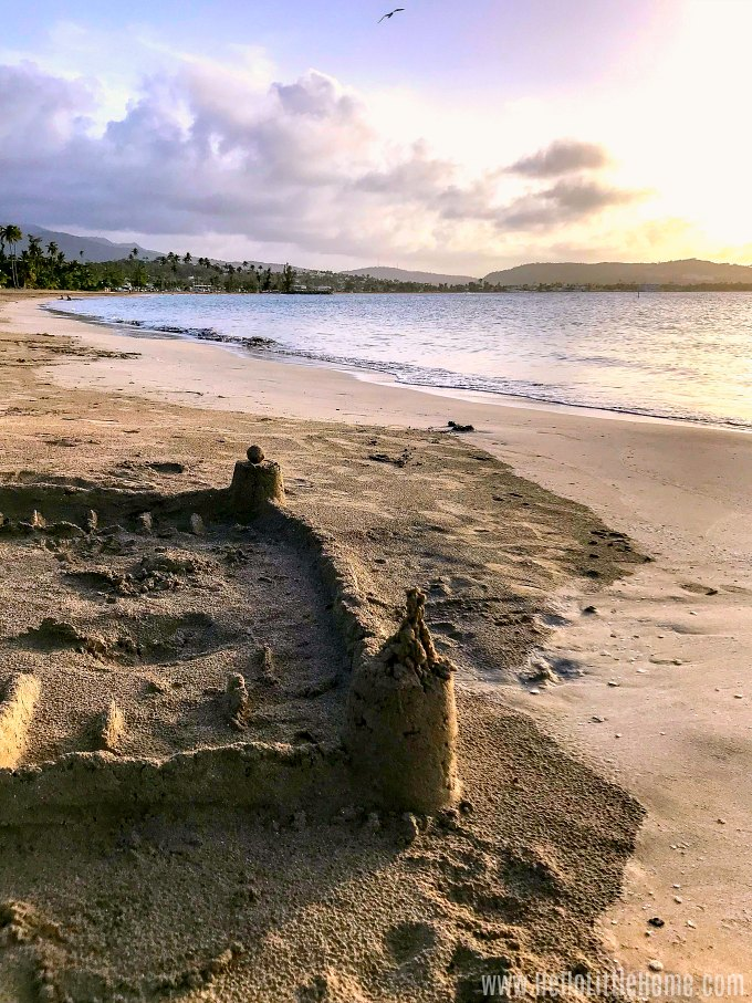 A sandcastle on Luquillo Beach in Puerto Rico.
