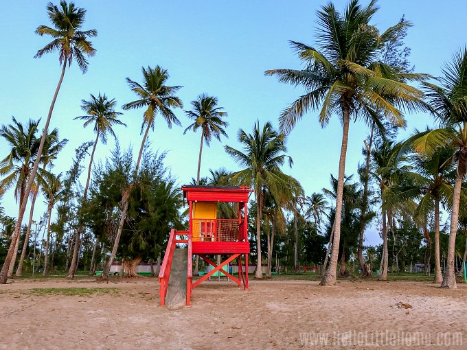 A lifeguard stand on the beach in Luquillo, Puerto Rico.