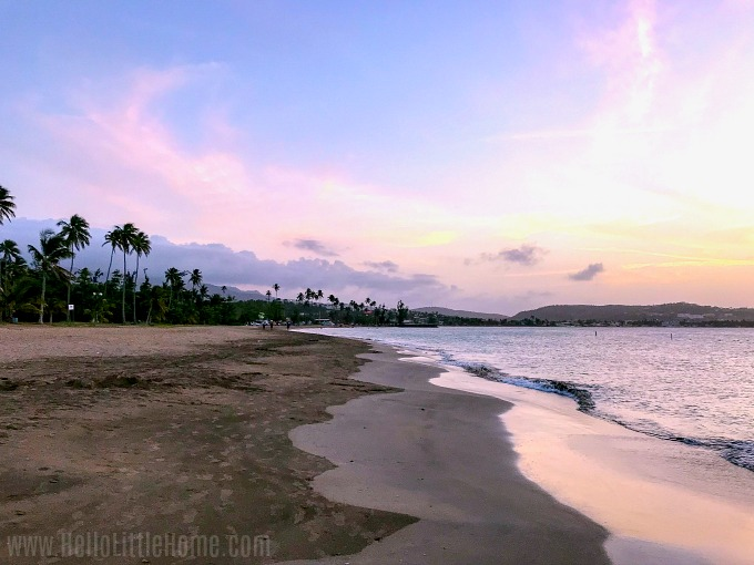 The sun setting over the beach in Luquillo, Puerto Rico.