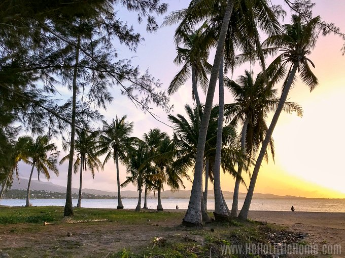 A pretty sunset on the beach in Luquillo, Puerto Rico.
