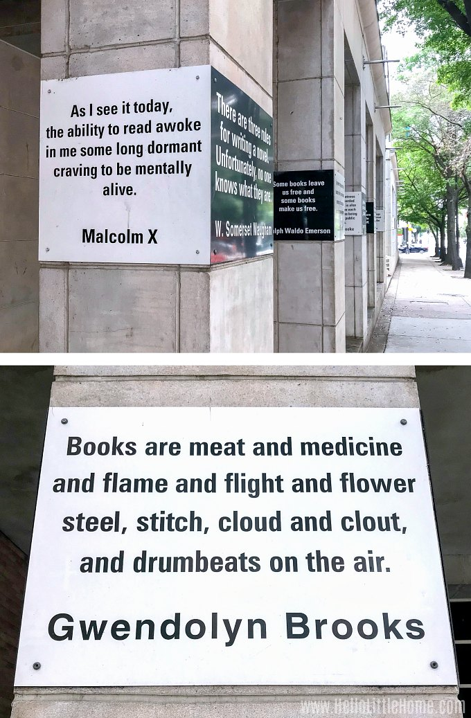Author quotes outside the Main Library in Uptown Charlotte.