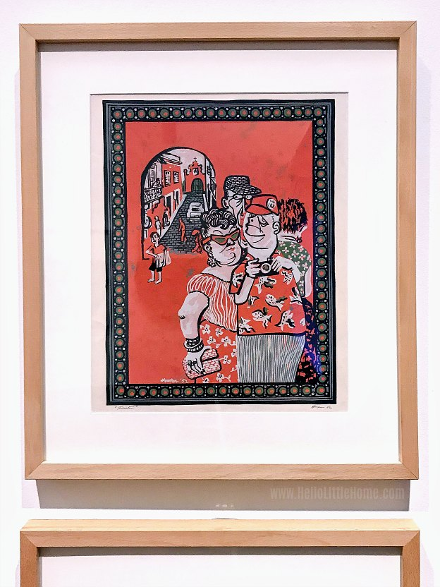 """Turistas"", a silkscreen by Lorenzo Homar, at the Museo de Arte de Puerto Rico."