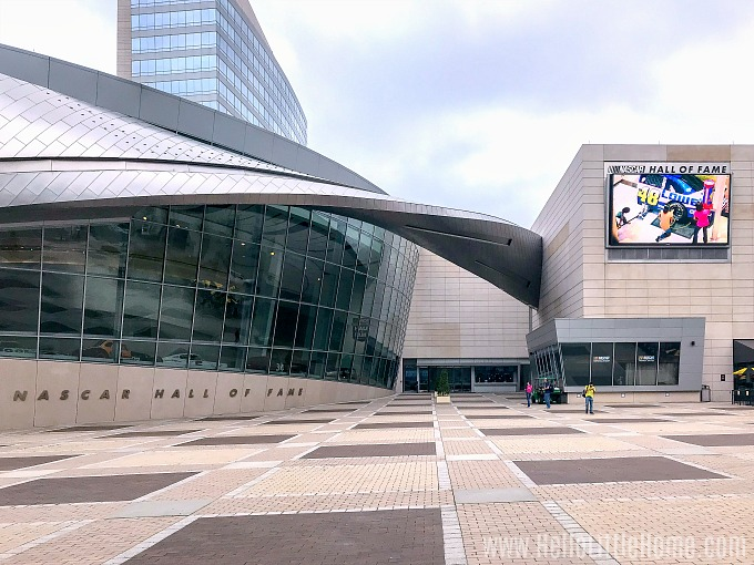 The exterior of the NASCAR Hall of Fame in Uptown Charlotte, North Carolina.