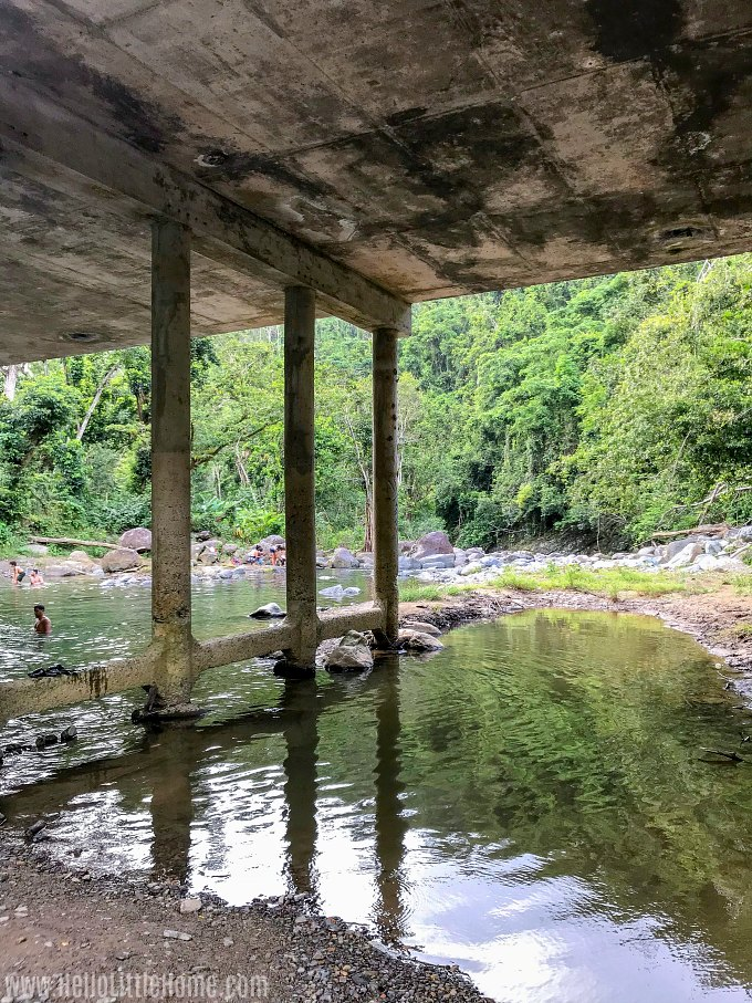 A swimming hole under the bridge crossing the Mameyes River at Puente Roto in El Yunque.
