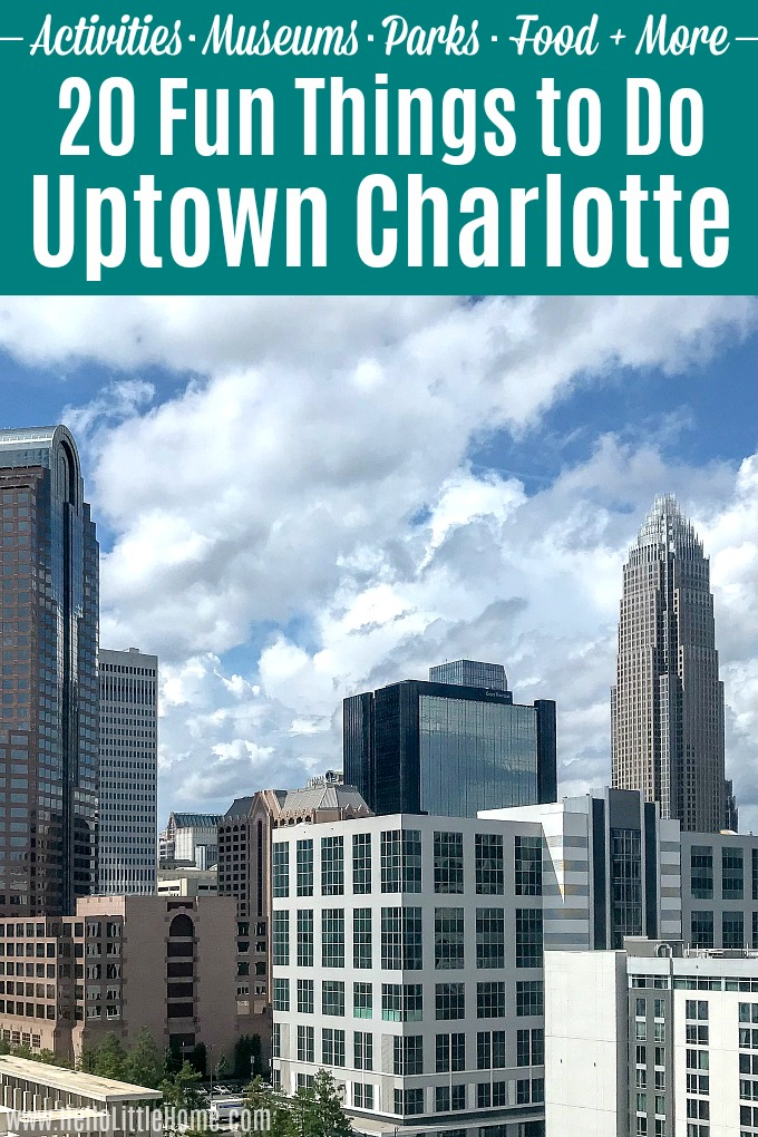 Over 20 things to do in Uptown Charlotte, North Carolina! Downtown Charlotte, NC is full of unique activities and things to see. This travel guide covers it all … from NASCAR to history, attractions, food + more! Check out these fun tips for the best places to visit in Charlotte in a day or a longer vacation. The Queen City is the perfect destination for kids and families or an adult-only getaway! #hellolittlehome #charlotte #charlottenc #uptowncharlotte #charlottesgotalot #exploreclt #visitnc