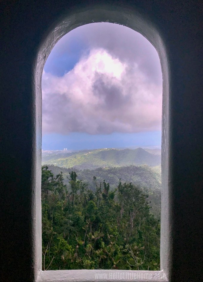 A beautiful view from an arched window in Yokahu Tower in El Yunque Rainforest in Puerto Rico.