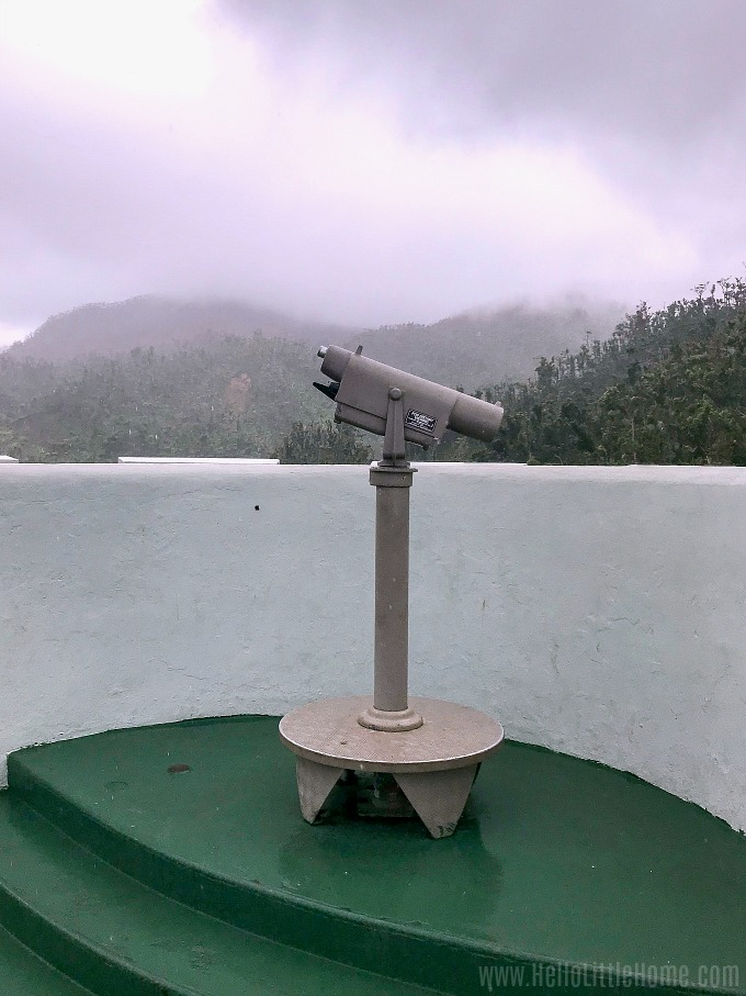 A telescope on top of the Yokahu Tower in El Yunque.