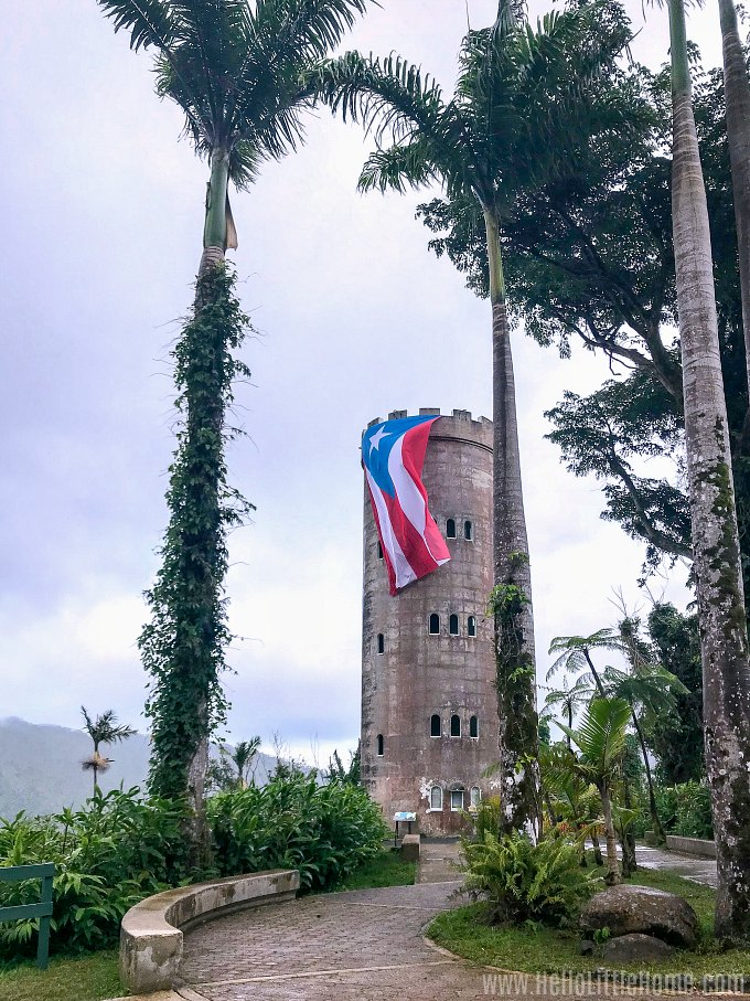 The Yokahu Tower draped with the Puerto Rican flag in El Yunque National Forest.