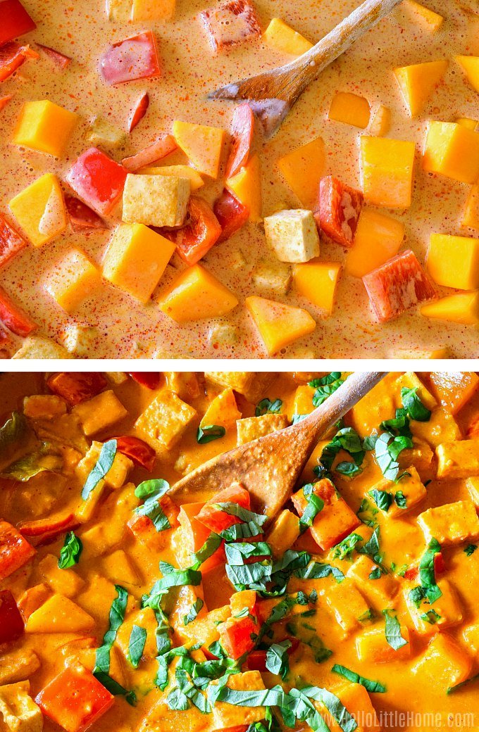 Cookiing a pumpkin curry with coconut milk.