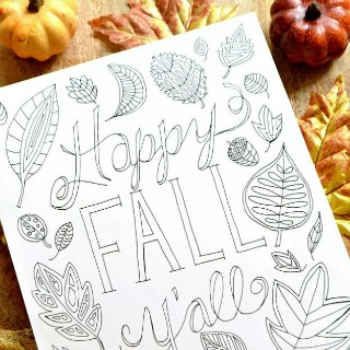 Happy Fall Y'all Coloring Page