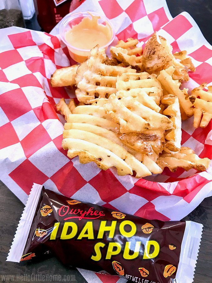Waffle fries and an Idaho Spud candy in the Idaho Potato Museum Cafe.