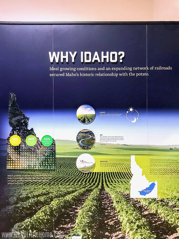 A display about why potatoes started to be grown in Idaho.