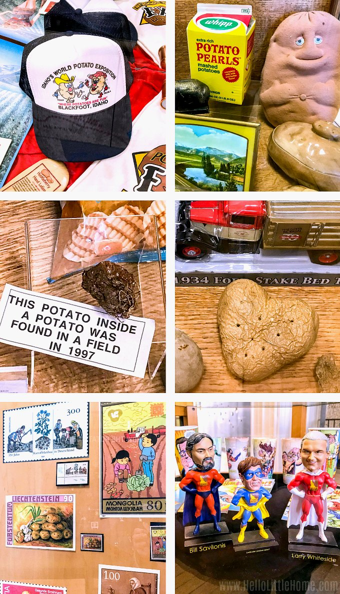 Unique exhibits at the Idaho Potato Museum.