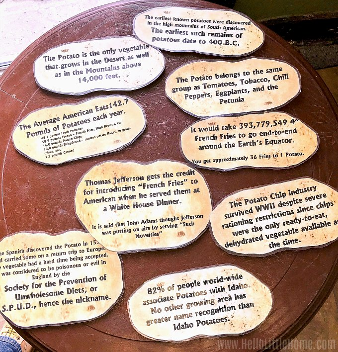 Potato facts on display at the Potato Museum.