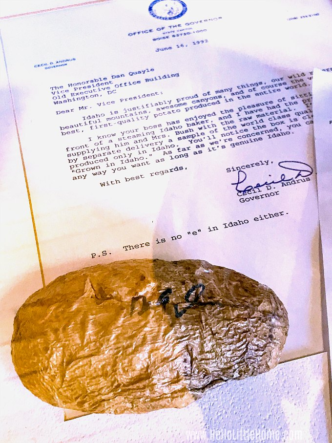 A potato signed by Dan Quayle at the Idaho Potato Museum.