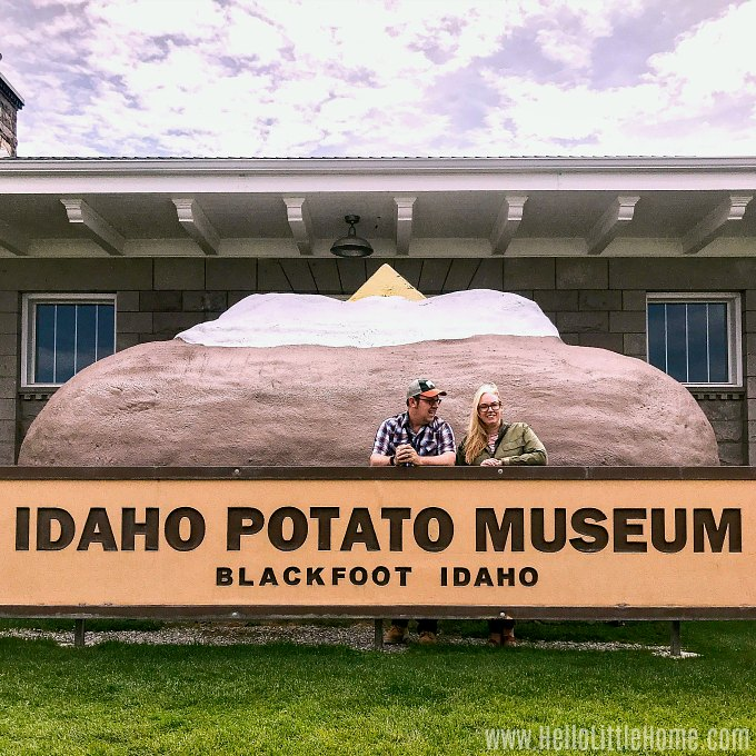 Taking a selfie in front of the giant potato at the Idaho Potato Museum.