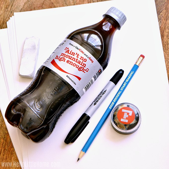 Supplies for making a DIY coloring page.