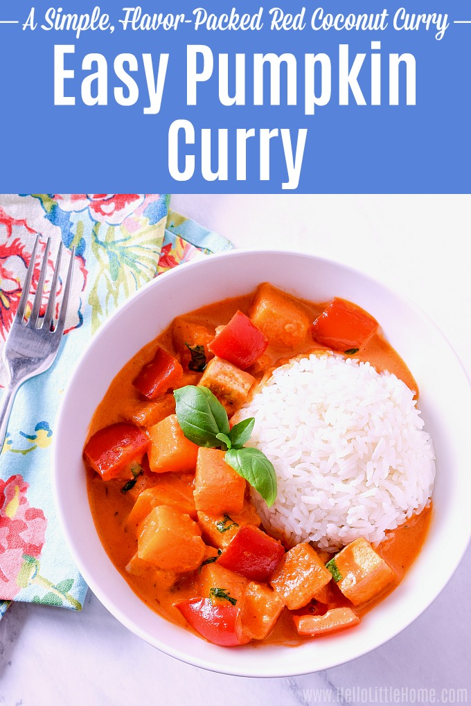 Pumpkin Coconut Curry served over rice.