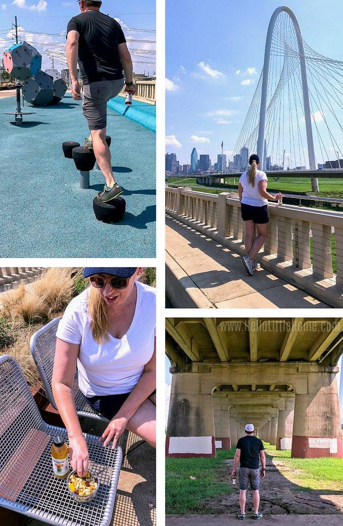 Having fun on the Ronald Kirk Pedestrian Bridge in Dallas.