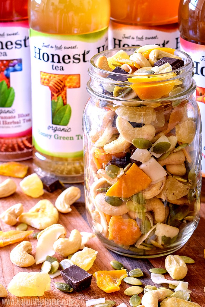 Homemade trail mix and Honest Tea.