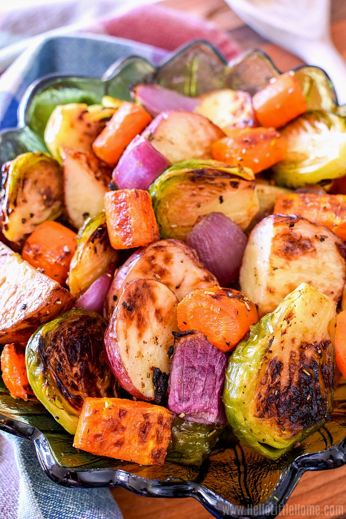 The best roasted vegetables recipes, served in a pretty glass bowl.