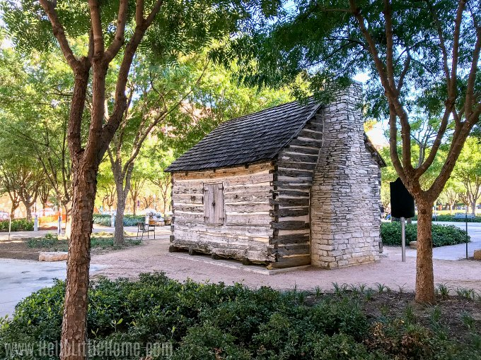 The Nealy Log Cabin, one of Downtown Dallas' top attractions.