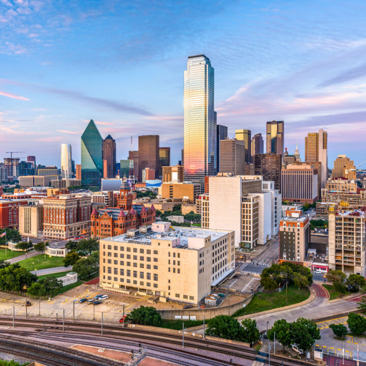 An aerial view of the Dallas skyline.