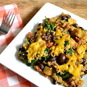 A plate with Mexican Quinoa Casserole.