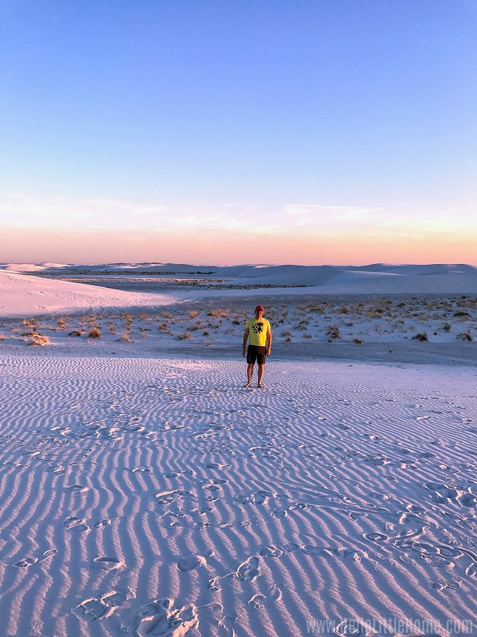 Hiking the dunes at White Sands National Monument.