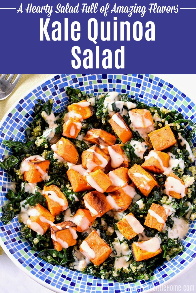 A big bowl of Kale Quinoa Salad with Roasted Sweet Potatoes.