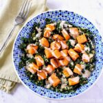 Kale Quinoa Salad with Roasted Sweet Potatoes.