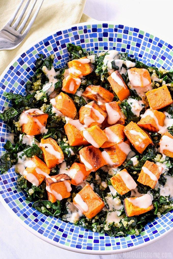 A big bowl of Kale Quinoa Salad.