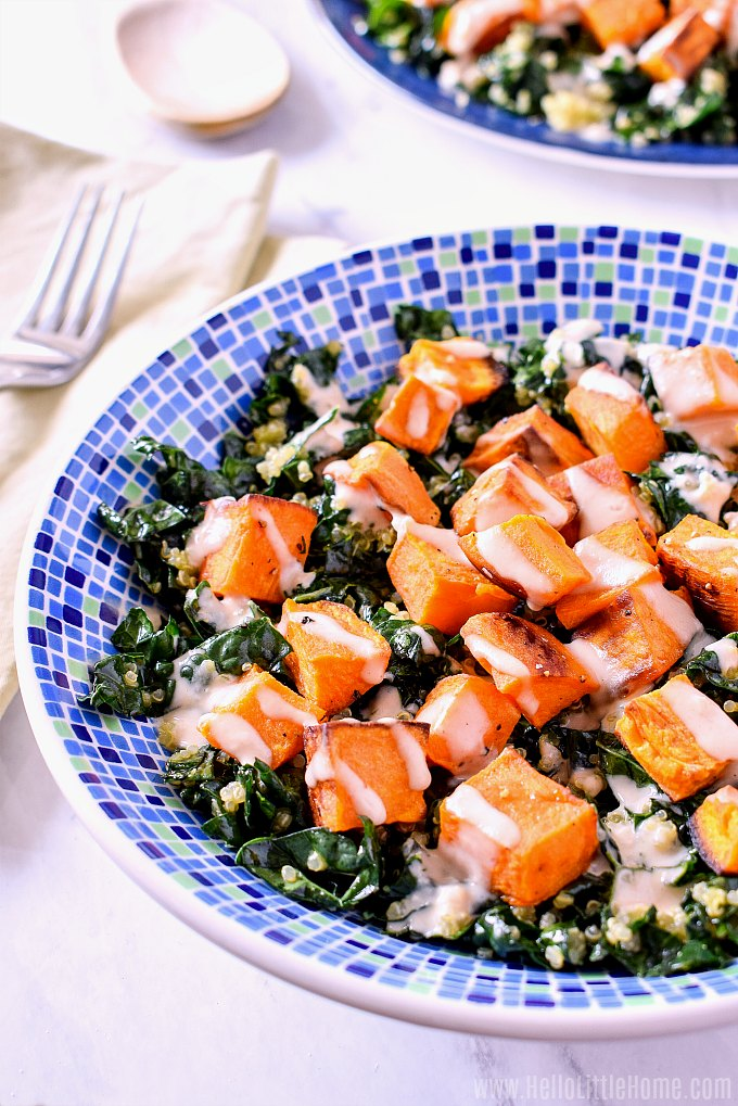 Two bowls of Kale and Quinoa Salad.