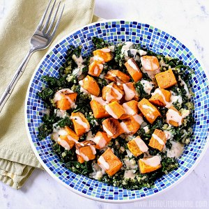 A Bowl of Kale Quinoa Salad with Roasted Sweet Potatoes