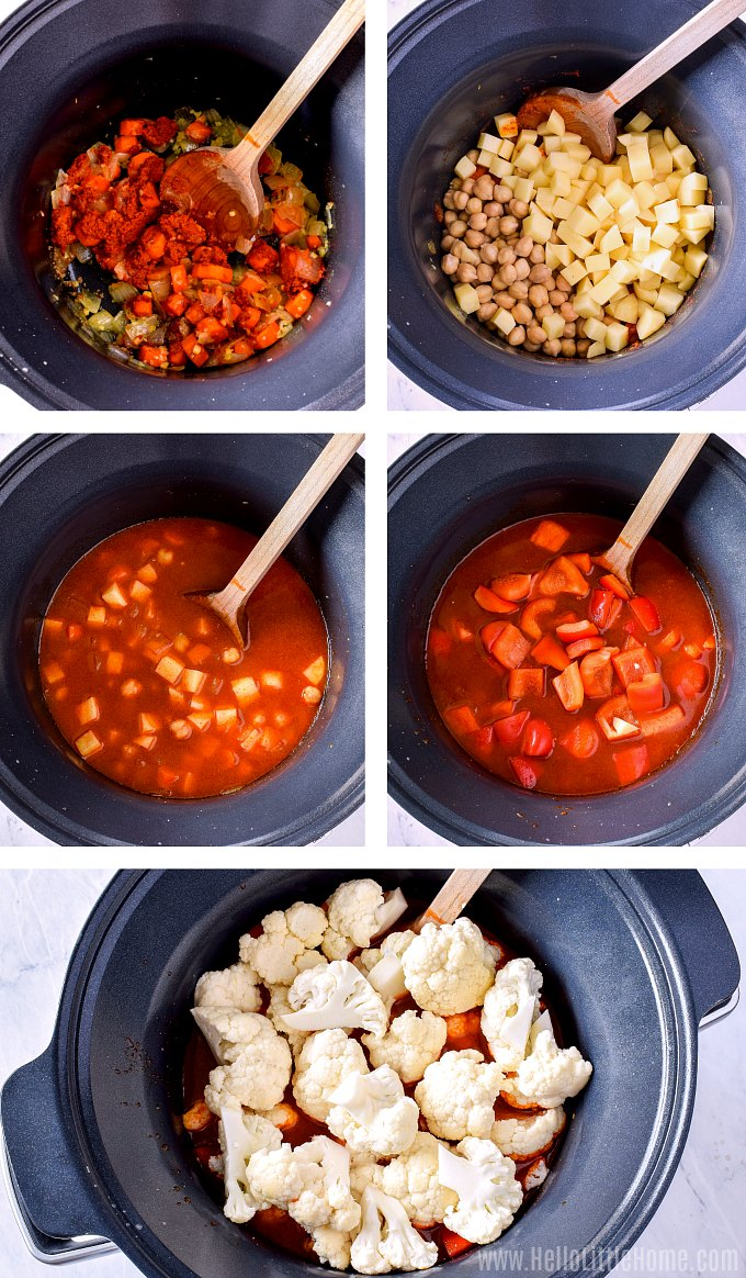 A photo collage showing how to add the ingredients to the slow cooker.