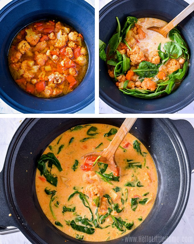 A photo collage showing a wood spoon mixing the coconut milk and spinach into the cooked curry.