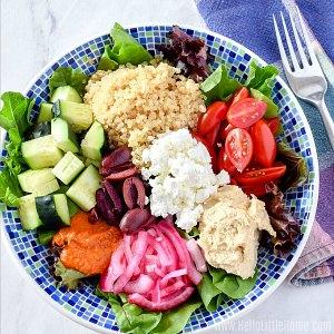 A Mediterranean Quinoa Bowl.