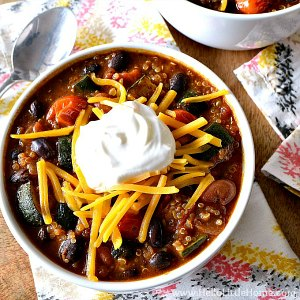 A bowl of Roasted Vegetable Quinoa Chili