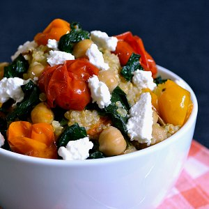 Roasted Vegetable Recipes Idea: Quinoa with Roasted Tomatoes, Kale, and Feta