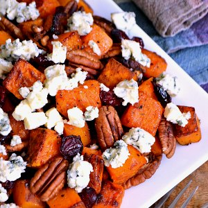 Roasted Vegetable Recipes Idea: Roasted Butternut Squash with Cranberries, Pecans, and Blue Cheese