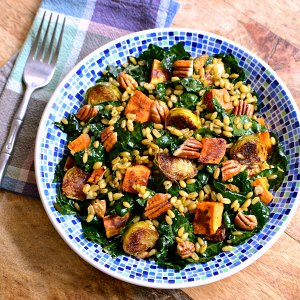 Roasted Vegetable Recipes Idea: Winter Kale Salad with Freekeh and Roasted Veggies