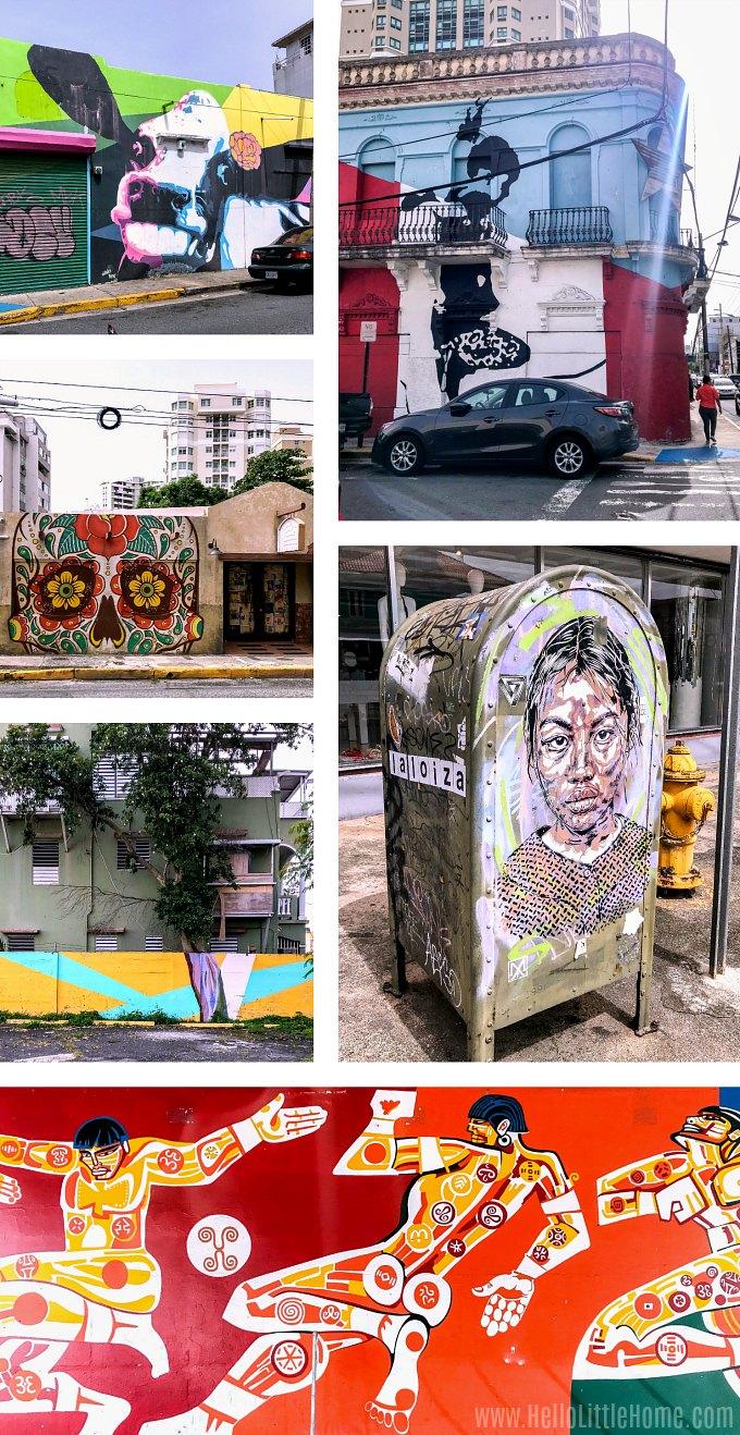 Collage of street art in Santurce, Puerto Rico.