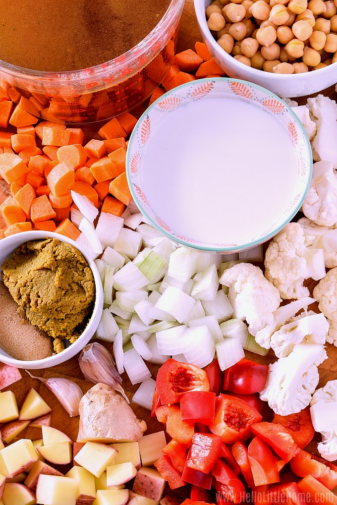 Slow Cooker Vegetable Curry Ingredients