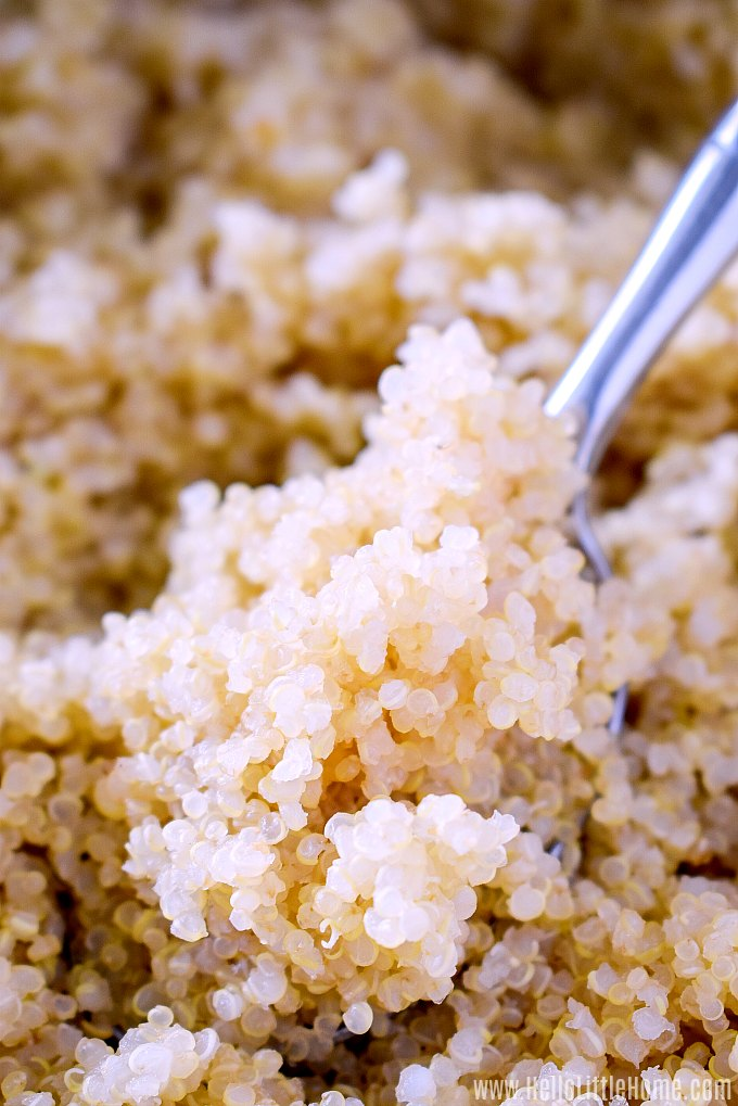 A bowl of tender, fluffy quinoa with a spoon in it.