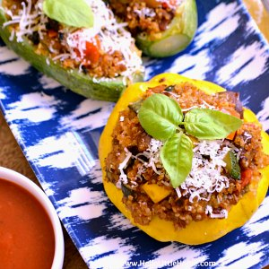 A platter of Vegetarian Stuffed Summer Squash.