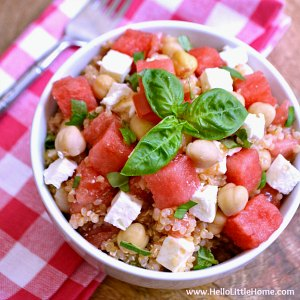 A bowl of Watermelon Basil Quinoa Salad