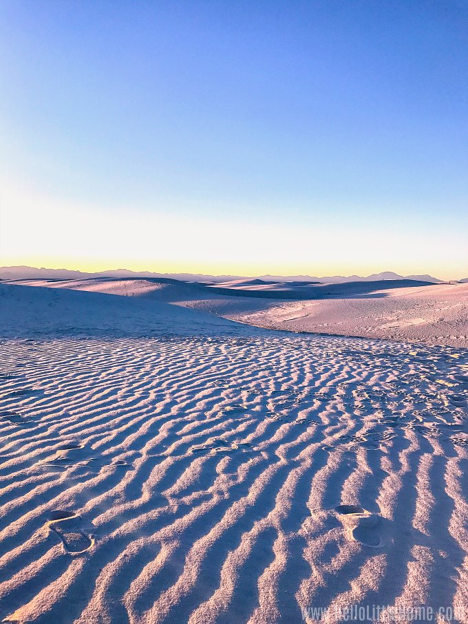 Rippled sand dunes at White Sands National Monument.